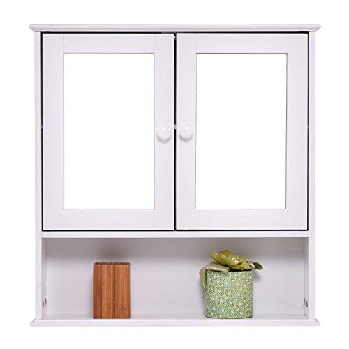 Tangkula Bathroom Cabinet Double Mirror Door Wall Mount Storage Wood Shelf White Buy Online In