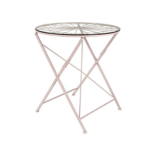 Kate and Laurel Thrapston Metal and Glass Folding Round Dining Table, Pink