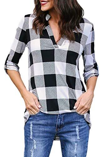 Shirt 4 Moda Manica Estivi Classiche Bianco Eleganti Top Ragazza V Prodotto Camicia Camicetta Blusa Casual 3 Neck Vintage Sciolto Reticolo Donne Donna Plus Basic EfWCOxxpn8