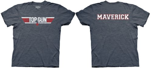 Top Gun Logo and Maverick Name Adult Heather Navy T-Shirt (Adult Small) (Tom Cruise Best Of)