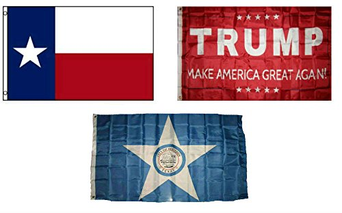 (ALBATROS 3 ft x 5 ft Trump Red with State of Texas with City of Houston Set Flag for Home and Parades, Official Party, All Weather Indoors)