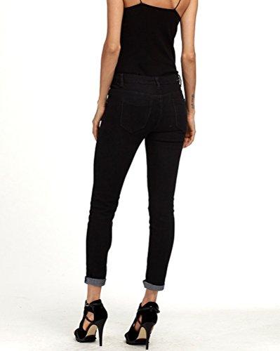 Femme Elastique Mode Trou Skinny Haute Noir Denim Jeans Pantalons Slim Taille rFWyrA1wq