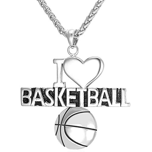 (U7 Basketball Necklace I Love Heart Stainless Steel Chain Pendant Personalized)
