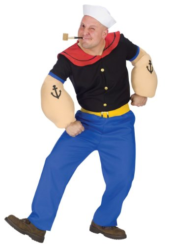 Fun World Costumes Men's Mens Popeye Costume, Blue, One Size