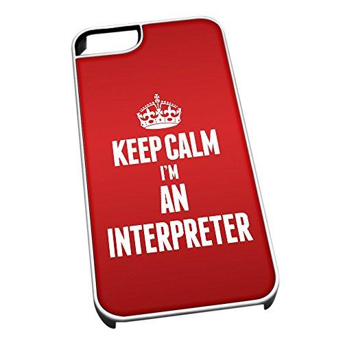 Bianco cover per iPhone 5/5S 2610rosso Keep Calm I m An Interpreter