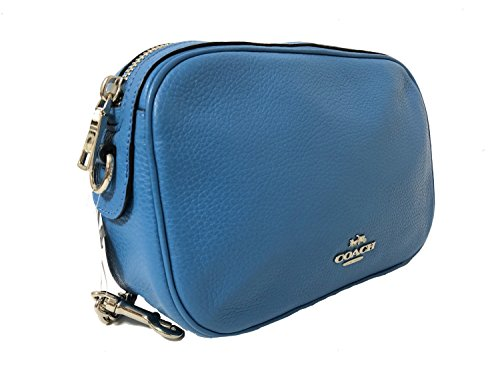 Bag Coach with Womens Crossbody Chain Leather Handbag Pebbled Blue Isla Bright q4wxR1q