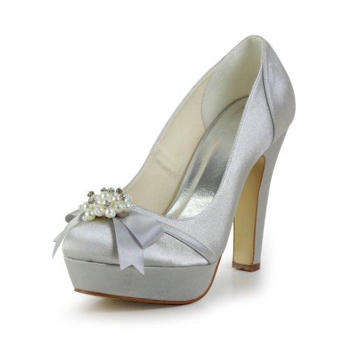 Argento Sposa Col Donna Tacco 348611 Wedding Scarpe Jia qUxSw06gn