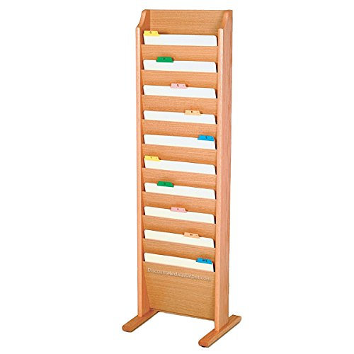 - DMD Chart and File Holder, Free Standing Floor Rack, 10 Pockets, Light Oak Wood Finish