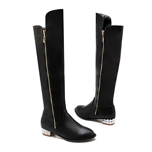 AllhqFashion Womens Solid Closed Round Toe PU Blend Materials Above-the-knee Boots Black mCsoN