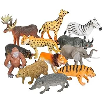 "Realistic Animal Toy Figures - 3"" Realistic Animals for Zoo - Animal Play Sets - Fun Toys For Children, Birthday Party Favors, Classroom Educational Animal Figures (1 Dozen) By Neliblu"