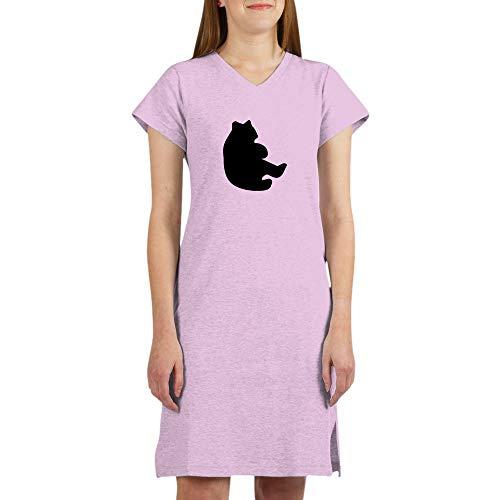 CafePress Black Bear Cub Silhouette Women's Nightshirt, Soft Long Pajama Shirt, Cotton PJs/Pyjamas