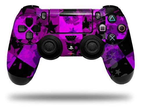 Vinyl Decal Skin Wrap compatible with Sony PlayStation 4 Dualshock Controller Purple Star Checkerboard (PS4 CONTROLLER NOT INCLUDED)