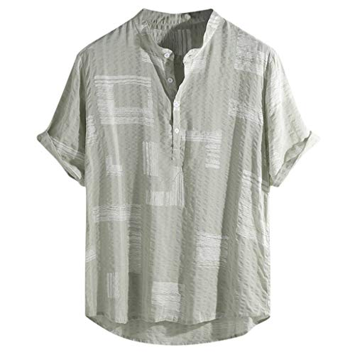 OUBAO T Shirt for Men Beachwear Casual Short Sleeve Hawaiian Tanks Tops Lump Chest Pocket Stripe Printed (XXXX-Large, Green) ()