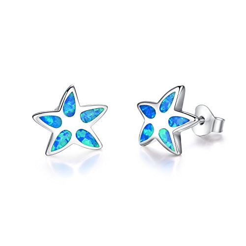 Canmiya Rhodium Plated Sterling Silver Synthetic Blue Opal Star Stud Earrings For Women and Girls - Opal Kids Ring