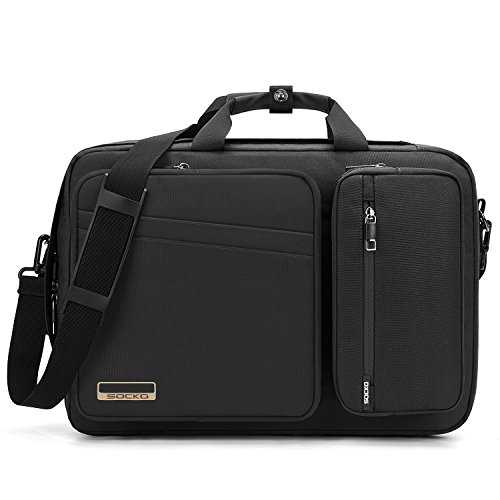 Convertible Laptop Bag Backpack,SOCKO Multi-Functional Water Resistant Messenger Bag Briefcase Business Travel College Laptop Shoulder Bag for Men/Women Fits Up to 17.3 Inch Laptop Computers,Black ()