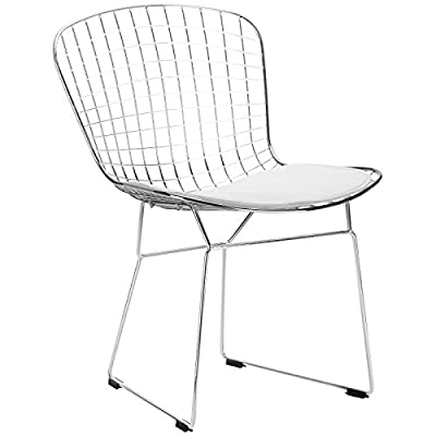 Poly and Bark Morph Side Chair in White - Chrome steel frame with welded steel rods Leatherette seat pad, with Velcro strips Plastic non-marking feet - kitchen-dining-room-furniture, kitchen-dining-room, kitchen-dining-room-chairs - 41H YTie73L. SS400  -