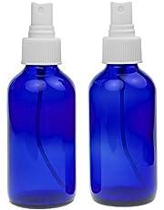 Sally's Organics 4oz Cobalt Blue Glass Spray Bottle with White Mister - 2 Pack 4oz