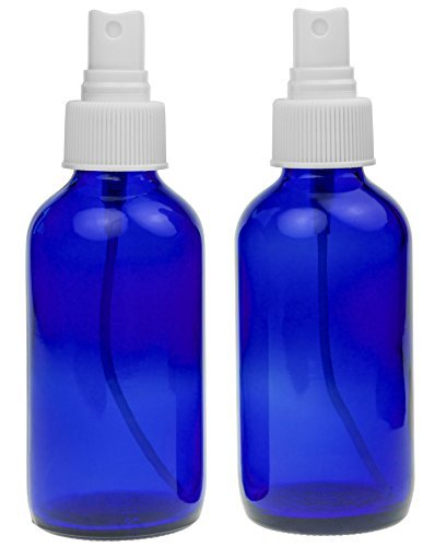 2 Empty Blue Glass Spray Misters - 4oz Refillable Bottle is Great for Essential Oils, Organic Beauty Products, Homemade Cleaners and Aromatherapy with a White Fine Mist Dispenser - 2 Pack of 4oz Bottles