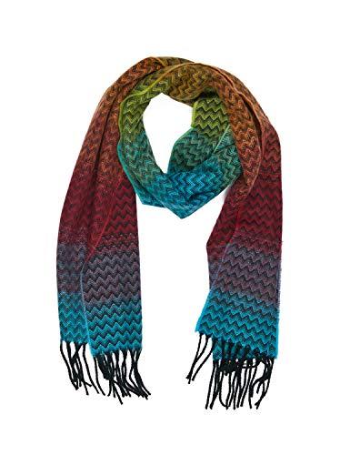 INVERNO Super Soft Luxurious Cashmere Feel Warm Winter Pattern Design  Unisex Scarf (Rainbow Chevron) fe4d8fac97d5