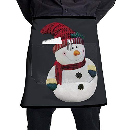 C-Emily Merry - Delantal de Cintura para Hombre de Nieve, diseño navideño (21 x 17 Pulgadas) con Bolsillos para Mujeres,...