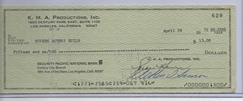 GOLDIE HAWN SIGNED PERSONAL CHECK
