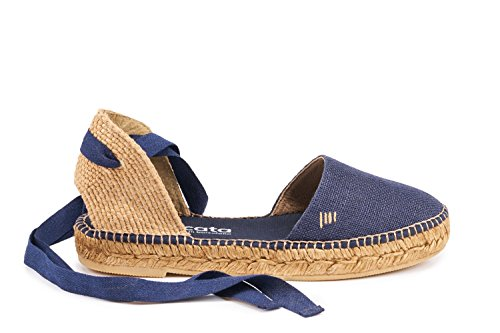 VISCATA Candell Linen Sandal, Soft Ankle-Tie, Closed Toe, Espadrilles Flats Made In Spain Navy