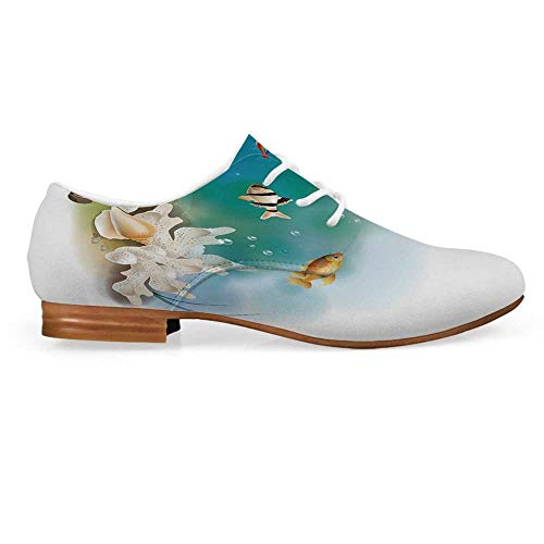 Aquarium Leather Oxfords Lace Up Shoes,Hawaiian Pacific Fauna with Different Fishes Oceanic Plants and Seashells Decorative Bootie for Girls ladis Womens,US 10