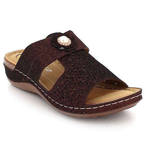 Ligero Zapatos Cada Sandalias Verano De Tamaño Ponerse Abierta Casual Comodidad Señoras Día Mujer Tacón Punta Cuña Marrón H4A6RWtP