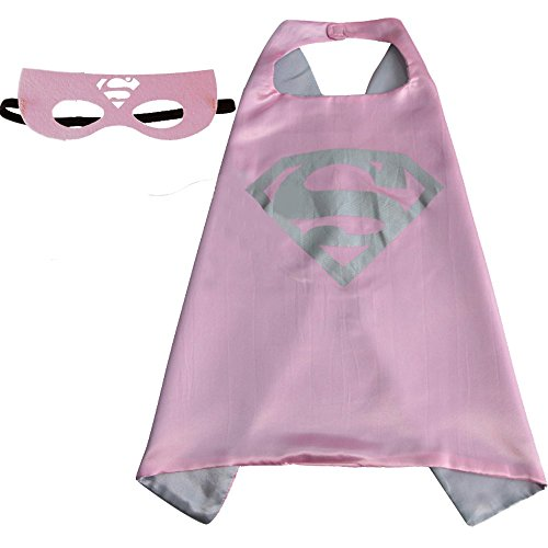 Girls Super hero Cape and Mask Dress Up Costume (Supergirl Pink)