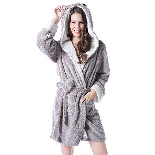Richie House Women's Soft and Warm Bathrobe Robe With Ears RHW2498,Grey,Small / Medium