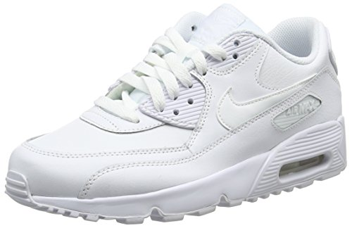 NIKE Kids Air Max 90 LTR (GS) Running Shoe (6.5 M US Big Kid, White/White)