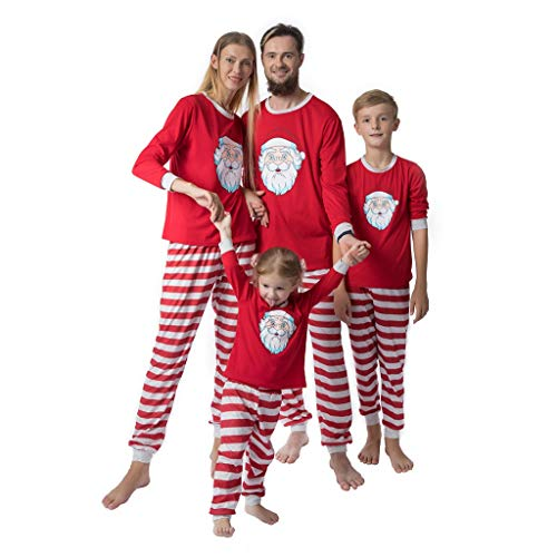Family Matching Christmas Pajamas Set,Crytech Soft Cozy Cotton Red Santa Claus Shirt Top and Striped Lounge Pant for Mom Dad Kid Xmas Halloween Holiday Sleepwear Pjs Outfit Clothes (3-4 Years, Kid)