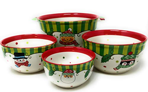 Temptations Set of 4 Bowls Mixing, Serving, Prep (Winter Whimsy - 4pc)