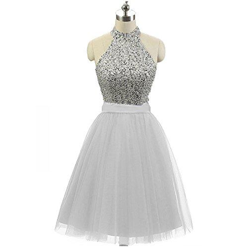 56724678930 QSYE Women s Sequined Homecoming Dress Halter Tulle Short Beading Prom  Dresses 2017