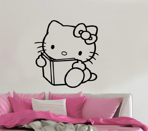 - Imprinted Designs Reading Hello Kitty Inspired Wall Decal Sticker Art Mural