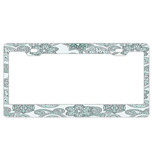 Rchengqush Stylish Lace Like Floral Pattern Eastern Design Hand Drawn Ornamental Paisley Artwork Metal Plate Frame,License Plate Covers,Car Tag - 6