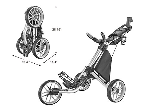 - CaddyTek Caddylite EZ V8 - EZ-Fold 3 Wheel Golf Push Cart Version 8, Silver