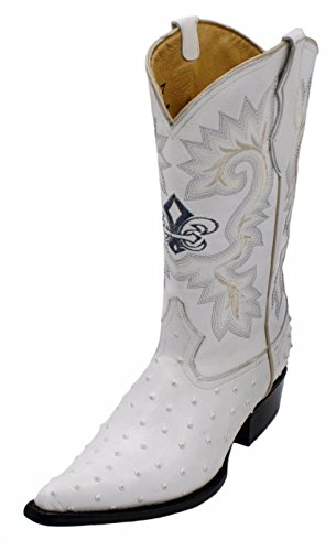 Dona Michi Cowboy Boot's Leather Ostrich Back Cut 2X Toe Cowboy Handmade Luxury Boots White-8.5
