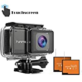 """RUNME R3 2.45"""" Touchscreen 4K 16MP Wi-Fi Action Camera, Sony Image Sensor, 30M Water Resistant Camcorder with 170° Wide-Angle Lens, Sports Cam with Accessories Kit & 2 Rechargeable Batteries(Grey)"""