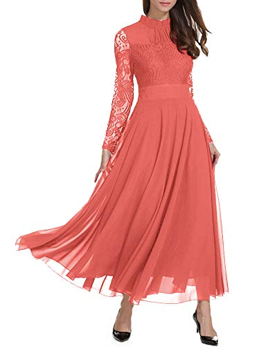 Roiii Women's Formal Floral Lace Chiffon Long Sleeve Ruched Neck Long Dress Evening Cocktail Party Maxi Dress Light Red