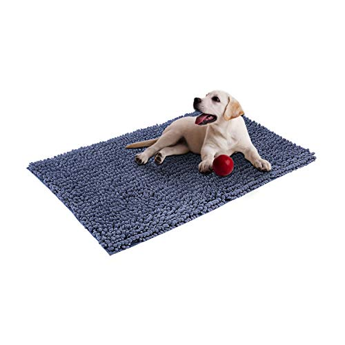 - Cosyroom Microfiber Chenille Dog Door Mat Ultra Absorbent Dirty Non Slip Doormat Rugs for Patio, Front Door, Entry, Machine Washable (Large, Gray)