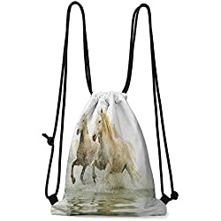 travel bag Horses,Camargue Horses in Water Ancient Oldest Breed Southern France Origin Artful Photo,White Beige W13.8 x L17 Inch shoe cloth storage bag