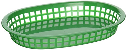 Winco Oval Platter Baskets, 10.75-Inch by 7.25-Inch by 1.5-Inch, Green