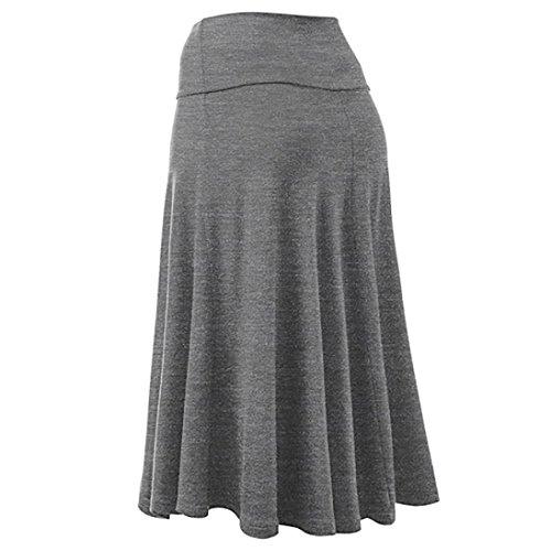 Uniforme Jupe Midi Gris Flare Sexy Haute Plus Solid ESAILQ Hem Taille Femmes Size Jupe Plisse SxO8wxT1