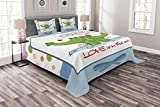 Lunarable Animals Bedspread Set King Size, Crocodiles in Water Smiley Love is in Air Music Keys Notes Wildlife Illustration, Decorative Quilted 3 Piece Coverlet Set with 2 Pillow Shams, Multicolor
