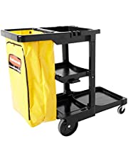 Rubbermaid Commercial Housekeeping 3-Shelf Cart with Zippered Yellow Vinyl Bag, Black, FG617388BLA