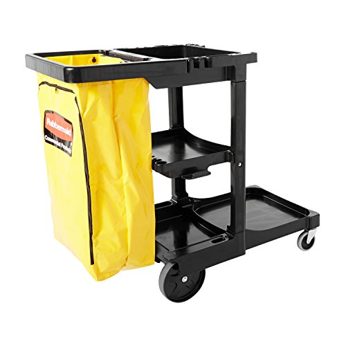 Rubbermaid Commercial Traditional Janitorial 3-Shelf Cart, Wheeled with Zippered Yellow Vinyl Bag, Black, FG617388BLA