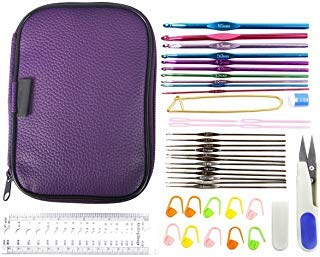 Mixed Aluminum Handle Crochet Hook Knitting Knit Needle Weave Yarn Set Full Kit,Crocheting Kits with PU Case