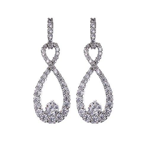- Teardrop Dangle Earrings for Wedding - 14k White Gold Plated Sterling Silver Cubic Zirconia Crystal Rhinestone Infinity Pierced Hypoallergenic Lightweight Earrings for Women Bridal Jewelry