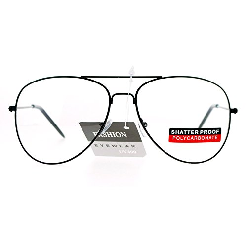 SA106 Classic Wire Rim Tear Drop Shape Aviator Clear Lens Eye Glasses - Black Aviators Rim